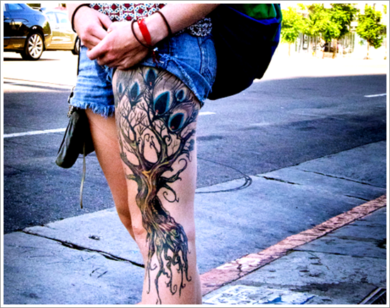 Colorful Tree Thigh tattoo