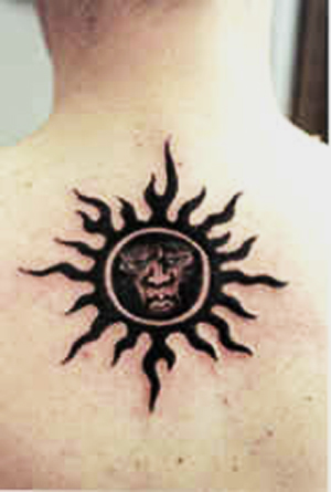 Sun with face on the back