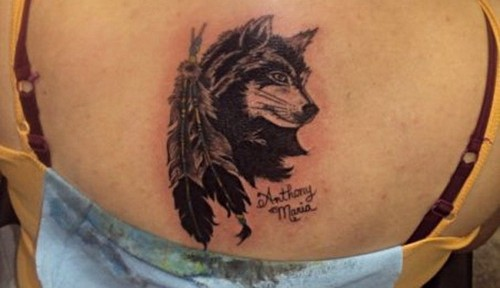 Back wolf tattoo design