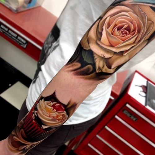 Colorful 3D Rose Tattoo