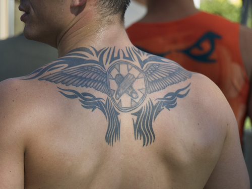 Tribal tattoo with wings