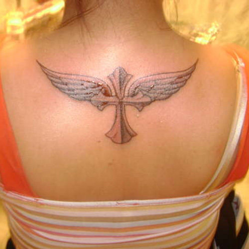 Cross And Wings Tattoo Idea On Back Amazing Tattoo Ideas