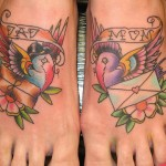 Cute mom and dad tattoo on foot