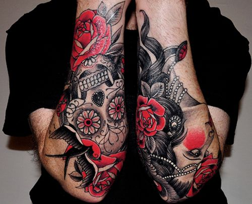 Amazing rose and woman tattoo forearm design