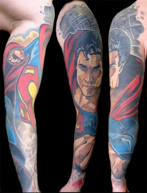 awesome full sleeve superman tattoo design amazing tattoo ideas. Black Bedroom Furniture Sets. Home Design Ideas