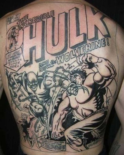 Medley of superheros tattoo design on the back