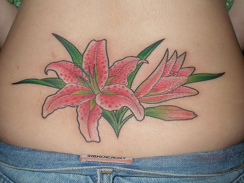 Red lily with bud tattoo