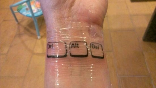 Awesome Ctrl Alt Delete geeky tattoo
