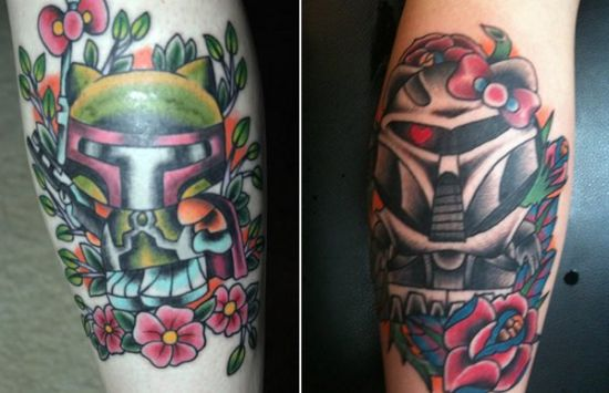 Awesome Hello Kitty Boba Fett geeky tattoo