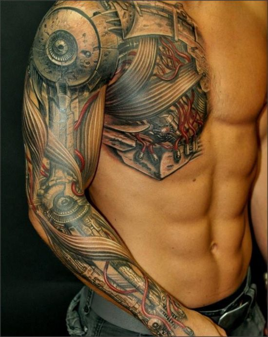 Awesome cyborg geeky tattoo