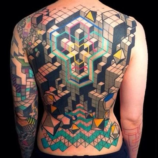 Beautiful Tetris inspired geeky backpiece tattoo
