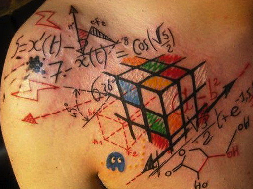 Colorful Rubik's Cube geeky tattoo