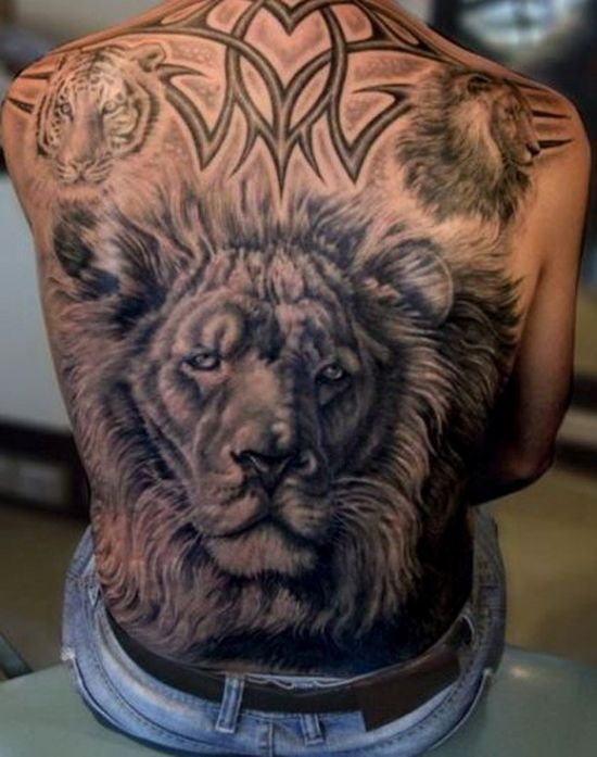 Amazing lion tribal back tattoo for men