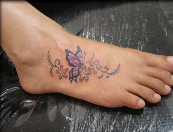 Colourful Butterfly Tattoo On Foot Amazing Tattoo Ideas