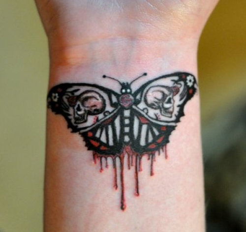 Evil Butterfly Tattoos On Wrist