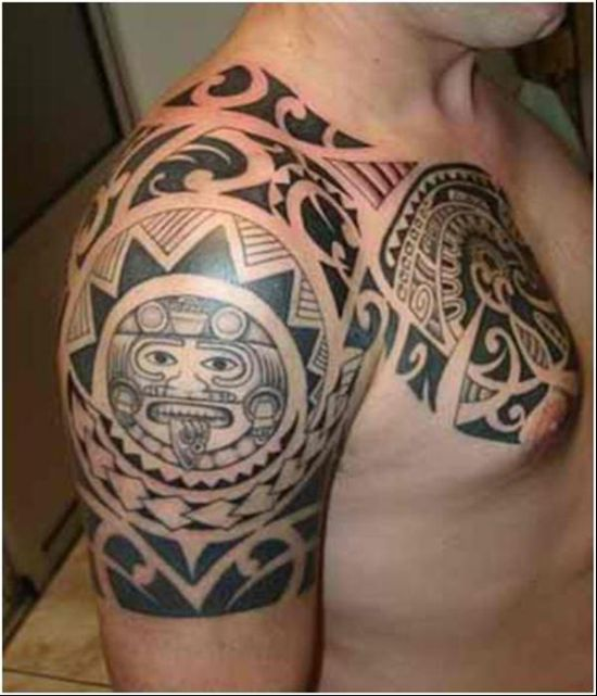 Face tribal arm tattoos for men