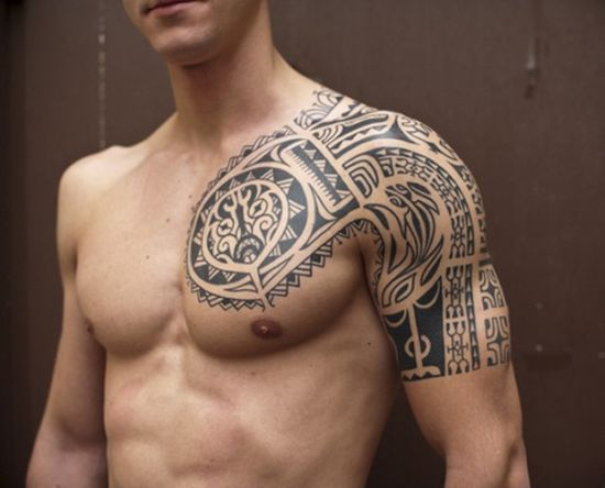Great tribal chest tattoo for men