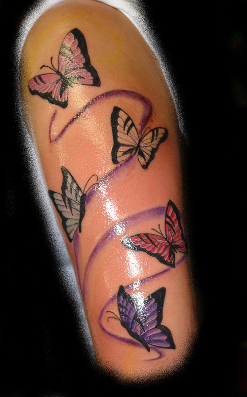 multicoloured butterfly tattoos on arm amazing tattoo ideas. Black Bedroom Furniture Sets. Home Design Ideas