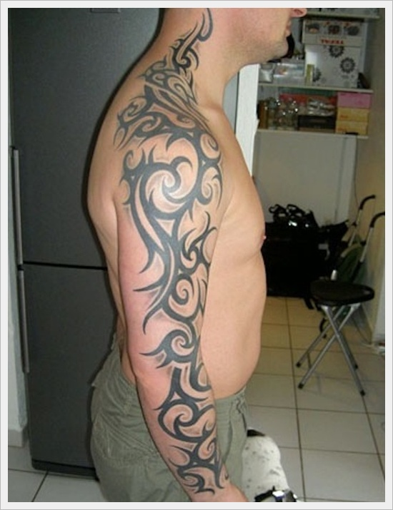 Neck and full arm tribal tattoo for men