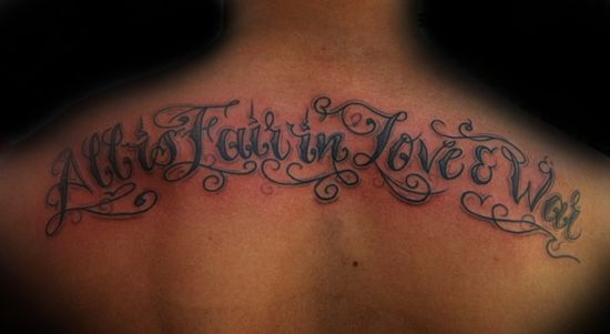 All is fair in love and war quote tattoo for men