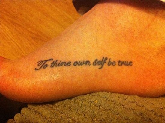 Foot quote tattoo