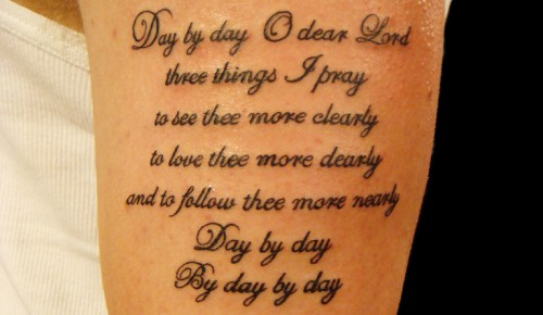 Tattoo letters Holy pray