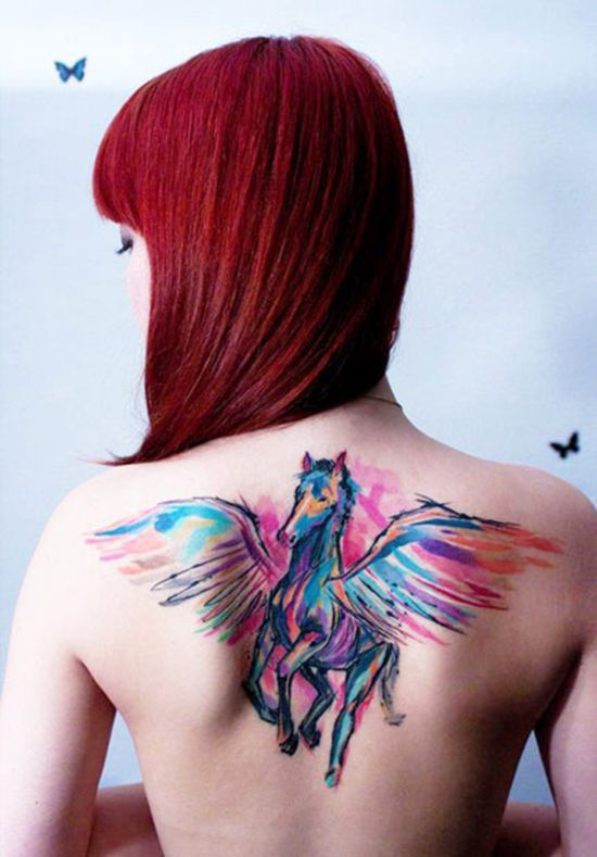 Back flying horse water color tattoo