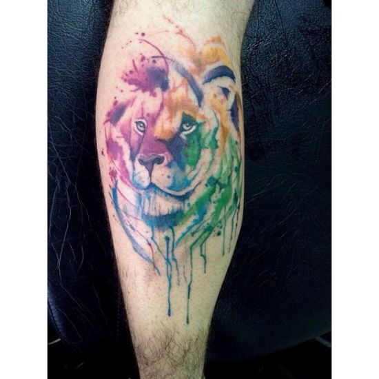 Colorful Lion Tattoo Tattoo Tattooed Tattoos: 55+ Creative Watercolor Tattoos For Men And Women