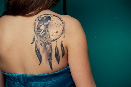 Dreamcatcher tattoos on back