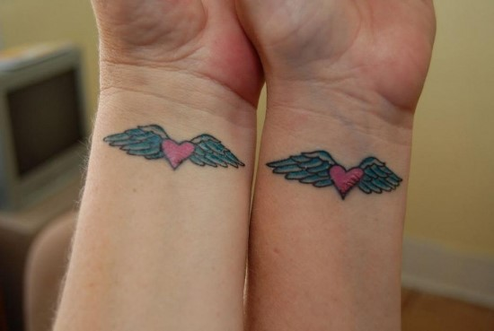 0a0f2d276 Matching Heart with Angel Wings Tattoo on Wrist | Amazing Tattoo Ideas