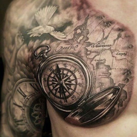 Atlas Compass Tattoo Design On Chest | Amazing Tattoo Ideas