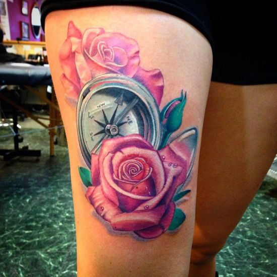Compass and pink roses tattoo on thigh amazing tattoo ideas compass and pink roses tattoo on thigh mightylinksfo