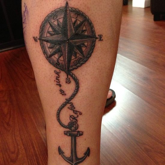 Top Nautical Compass And Anchor Tattoo On Leg | Amazing Tattoo Ideas ZS42