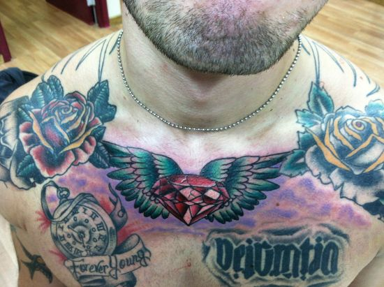 diamond with wings tattoo