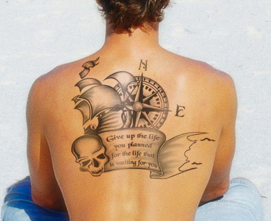Skeleton Compass Tattoo On Upper Back | Amazing Tattoo Ideas
