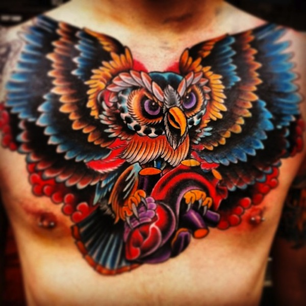 Colorful Owl Chest Tattoo