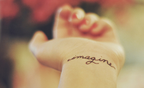 """Imagine"" Word Wrist Tattoo"
