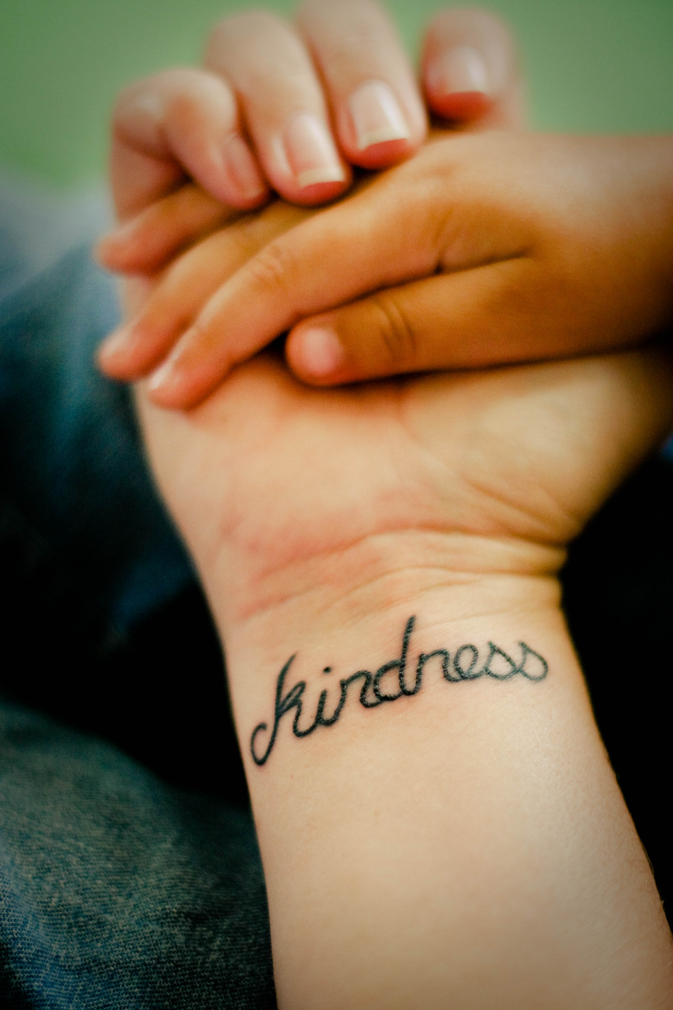 """Kindness"" Word Wrist Tattoo"