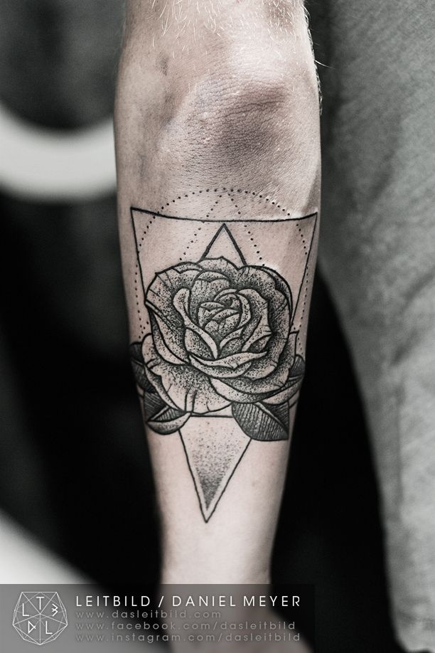 Dotted Rose Arm Tattoo