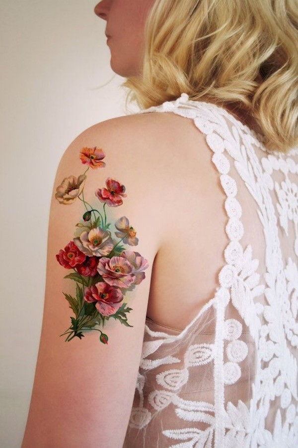 Realistic Flowers Arm Tattoo