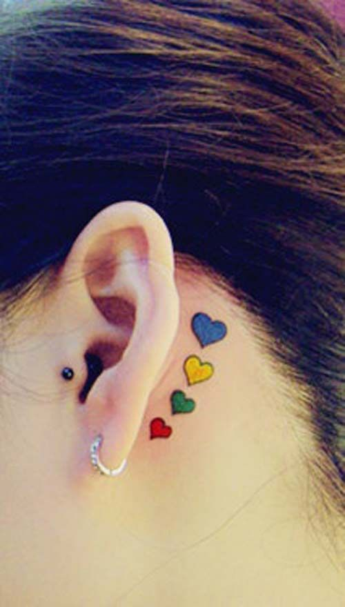 Colorful Hearts Behind The Ear Tattoo