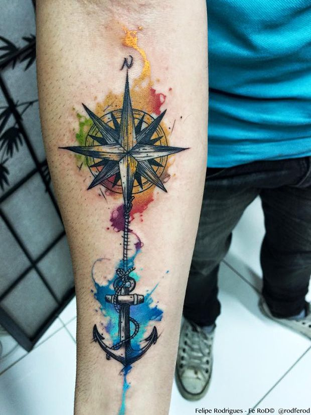 Compass And Anchor Forearm Tattoo