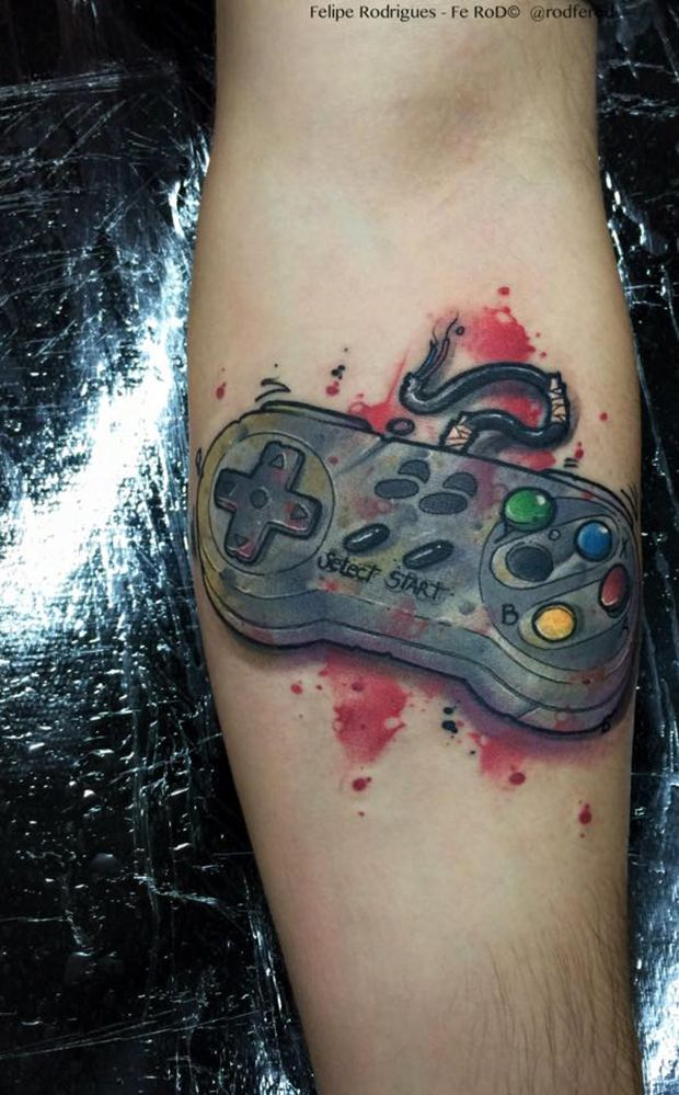 Console Watercolor Forearm Tattoo