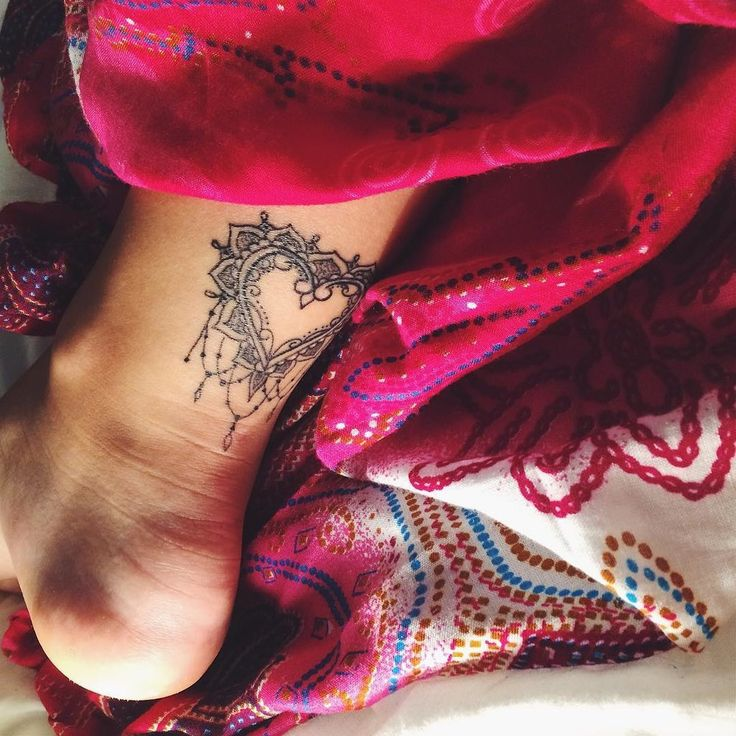 Gorgeous Heart Ankle Tattoo