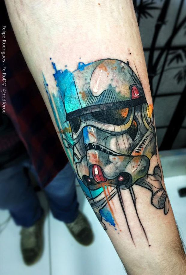 Robotic Watercolor Forearm Tattoo