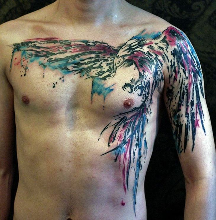 Watercolor Bird Chest Tattoo