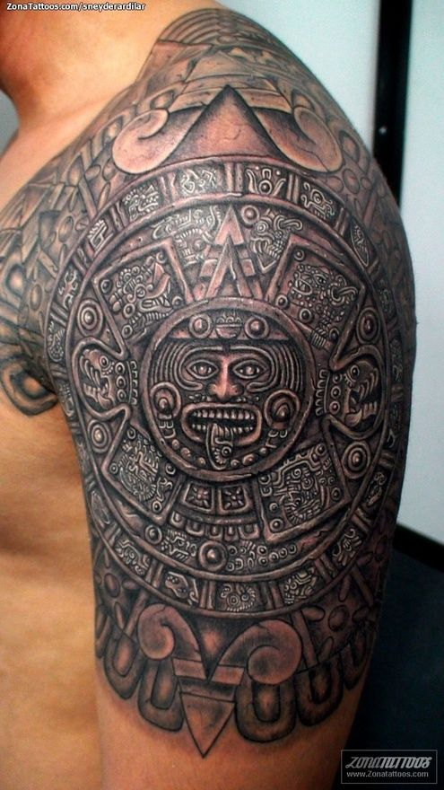 Aztec Armor Arm Tattoo