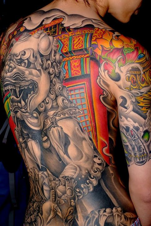 Colorful Traditional Back Tattoo