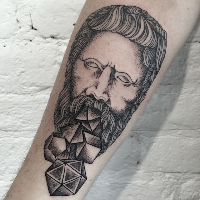 Dotwork Man Forearm Tattoo