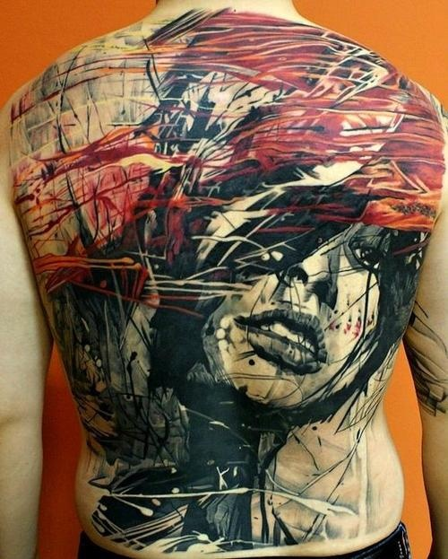 Face Scribbles Full Back Tattoo